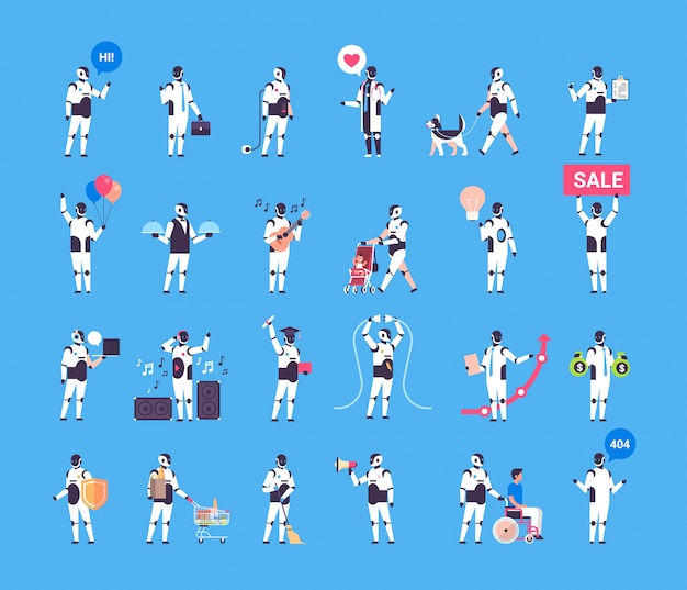 Collection of robot characters isolated, artificial intelligence concept
