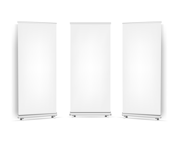 Collection roll up banners set  white background