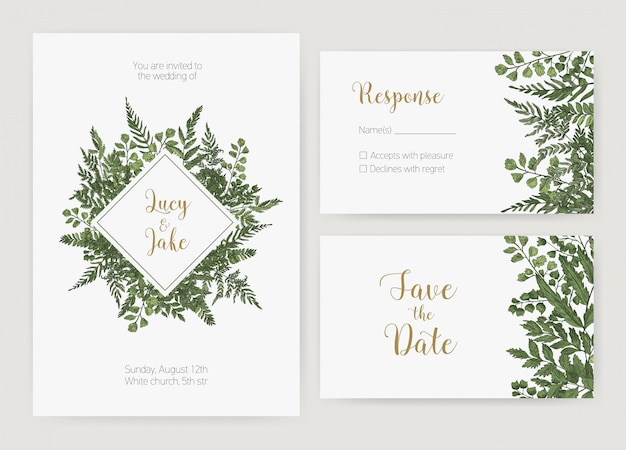 Collection of romantic wedding invitation, save the date and response card templates decorated with green forest ferns and wild herbaceous plants. natural realistic hand drawn illustration.