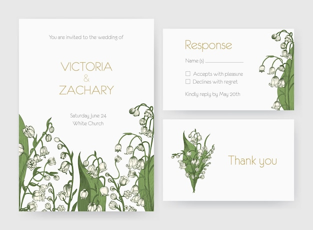 Collection of romantic wedding invitation, save the date and response card templates decorated with wild lily of the valley flowers or flowering plants.