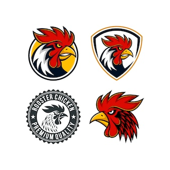 Collection of rooster mascot logo templates