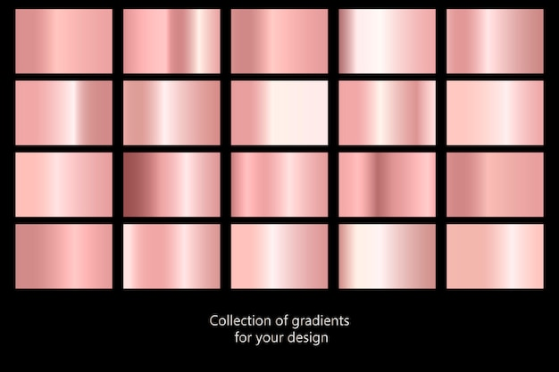 Collection of rose gold gradient backgrounds