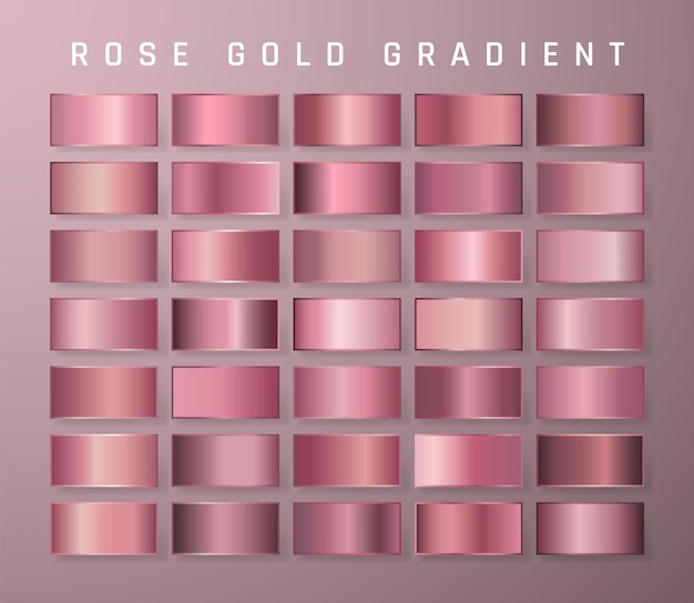 Collection of rose gold metallic gradient. brilliant plates with golden effect.