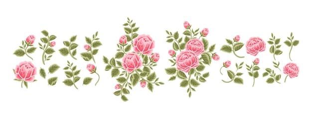 Collection of rose, peony flower, leaf branch, feminine floral bouquet arrangements