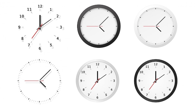 Collection of round analog dial clock faces