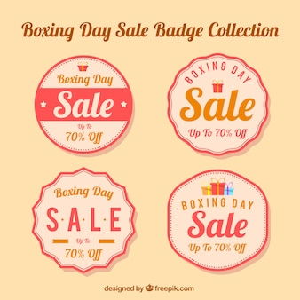 Collection of round badges for boxing day
