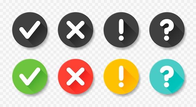 Collection round buttons with sign done, error, question mark, exclamation point.   illustrations. set black and colorful badges for website and mobile apps isolated on white.