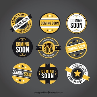 Collection of round coming soon labels with yellow elements