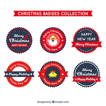 Collection of round flat christmas badges