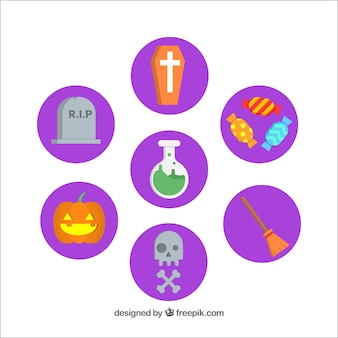 Collection of round lilac stickers for halloween