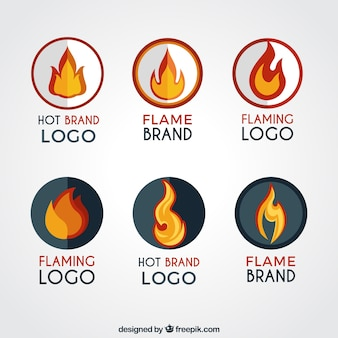 Collection of round logos with flames
