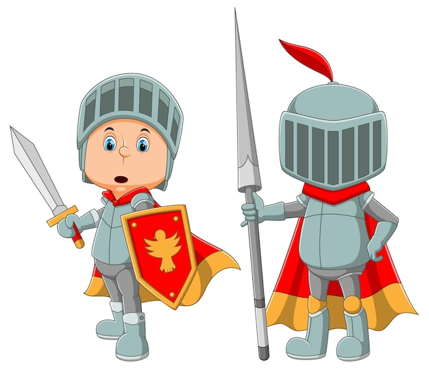 The collection of the royal guard are using the armor and holding the sword of the illustration