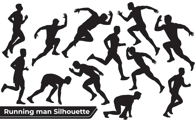 Collection of running man silhouettes in different poses