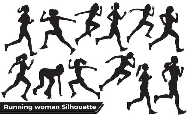 Collection of running woman silhouettes in different poses