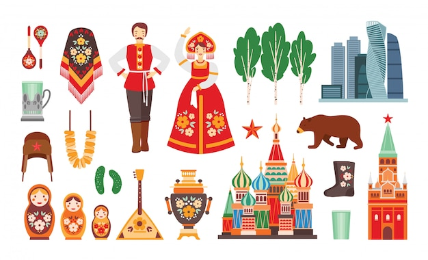 Collection of russian national costumes, attributes