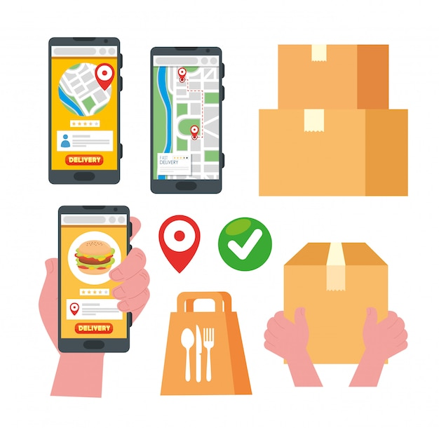 Collection s of delivery online with smartphone and boxes packages