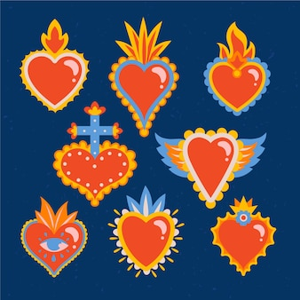 Collection of sacred heart illustrations