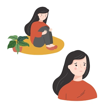 Collection of sad young woman  flat  illustration. crying woman hugging her legs