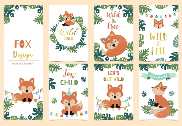 Collection of safari background set with fox