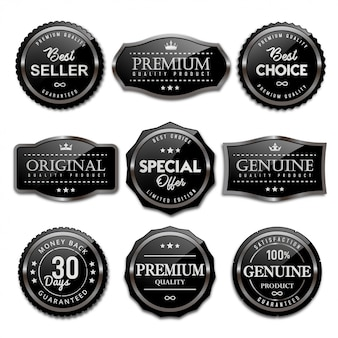 Collection of sale badges and labels black glossy