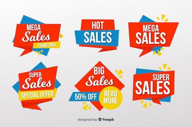 Collection of sale banners origami style