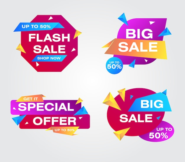Collection sale banners origami style