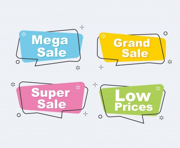 Collection of sale discount banners.