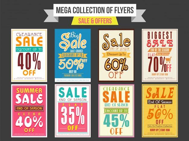 Raccolta di vendita e di offerta sconto volantini, modelli e striscioni di design