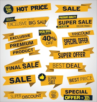 Collection of sale discount and promotion banners and labels
