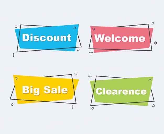 Collection of sale discount styled modern banners.