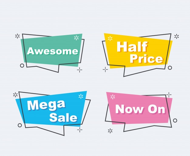 Collection of sale discount styled origami banners
