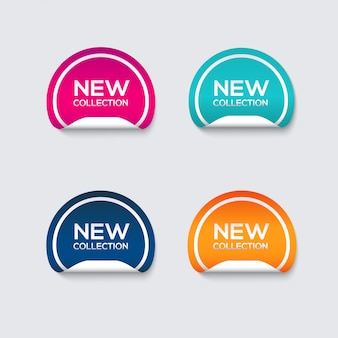 Collection of sale discount styled stickers.