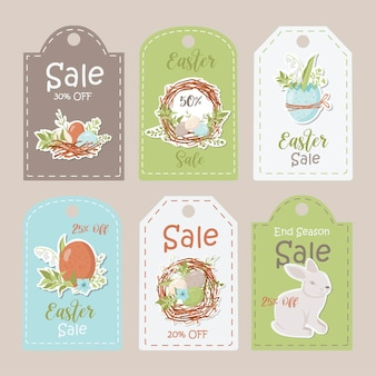 Collection of sale easter tags. printable cards templates.