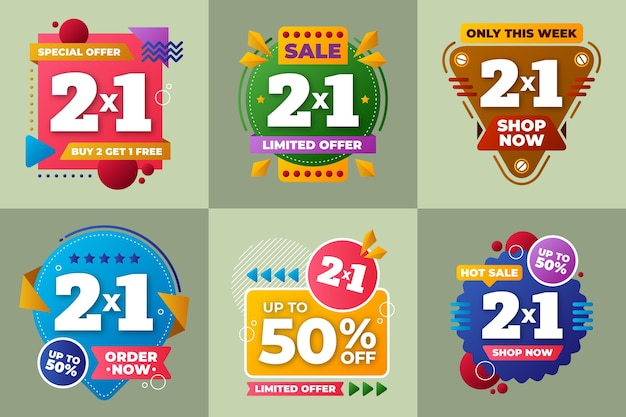 Collection of sale offer badges