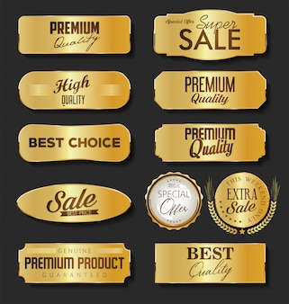 Collection of sale and premium choice golden emblem