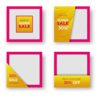 Collection of sale template or poster design with different disc