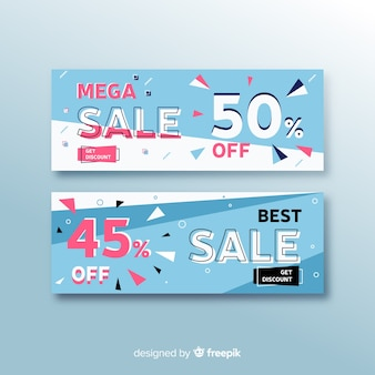 Collection of sales banners in memphis style