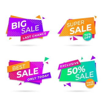 Raccolta di badge promozionali di vendita