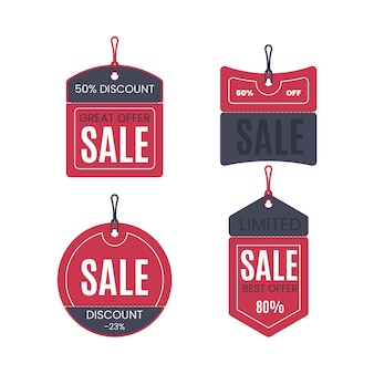Collection of sales tag flat design