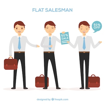 Collection of salesman characters in flat style