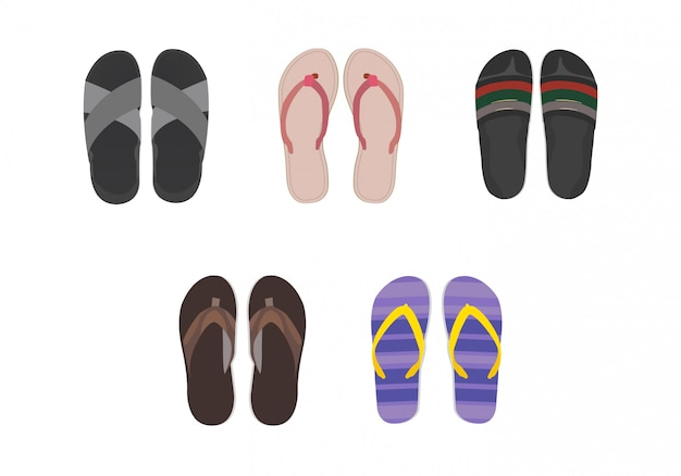 Collection of sandals set with simple decoration