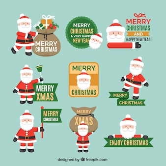 Collection of santa claus badges Free Vector