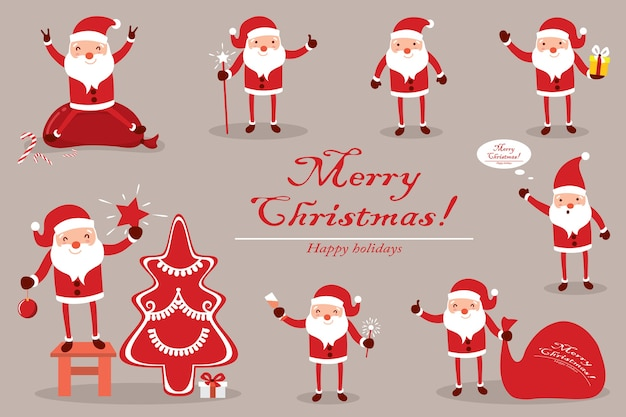 Collection santa claus for christmas. characters cute