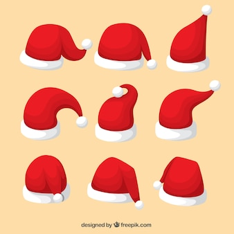 Collection of santa claus hat in different shapes