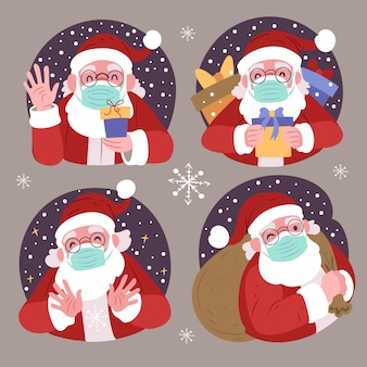 Collection of santa claus wearing face mask