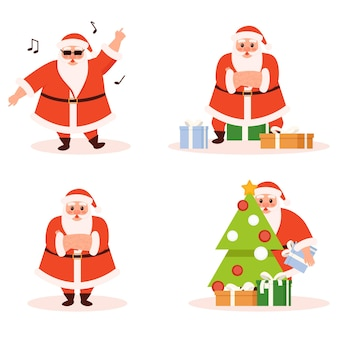 Collection of santa in different poses isolated on white