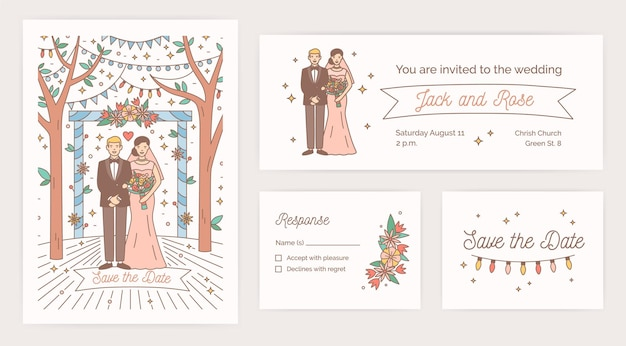 Collection of save the date card, wedding party invitation and response note templates with cartoon bride and groom on white background. colorful vector illustration for in modern line art style