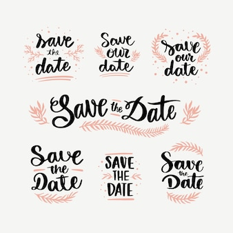 Collection of save the date lettering