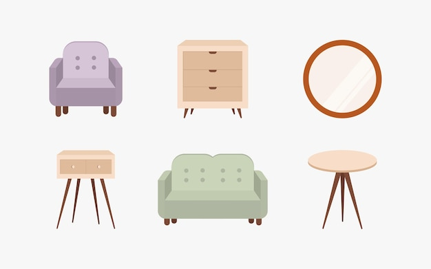 Collection of scandinavian minimalistic comfy furniture and home decorations