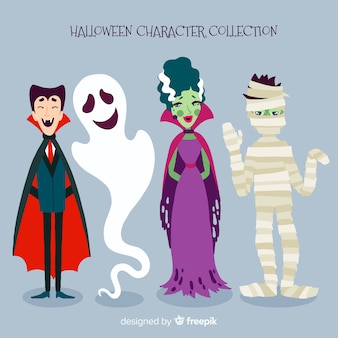 Collection of scary halloween characters